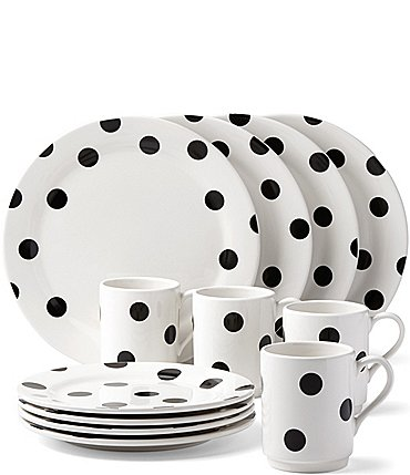 Image of kate spade new york All in Good Taste Deco Dot Stoneware 12-PIece Dinnerware Set