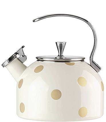 Image of kate spade new york All in Good Taste Deco Dot Whistle While You Work Enameled Steel Tea Kettle