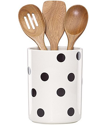 Image of kate spade new york All in Good Taste Scatter Dot Crock and Wooden Utensils