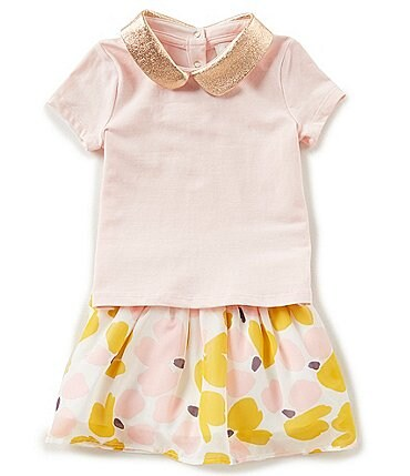 Image of kate spade new york Baby Girls 12-24 Months Metallic Short-Sleeve Top & Chiffon Skirt Set