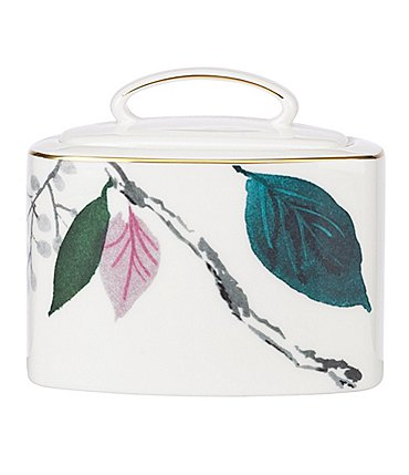 Image of kate spade new york Birch Way Watercolor Floral Bone China Sugar Bowl with Lid