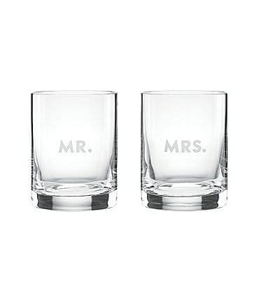 Image of kate spade new york Darling Point Mr. & Mrs. Double Old Fashioned Glass Pair