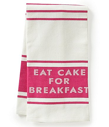Image of kate spade new york Diner Stripe Eat Cake for Breakfast Kitchen Towel