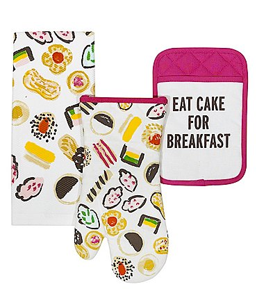 Image of kate spade new york Eat Cake For Breakfast 3-Piece Kitchen Linens Set