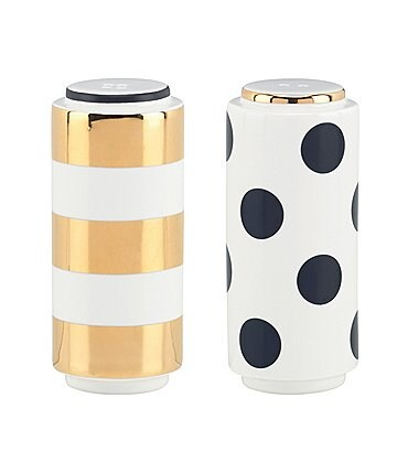 Image of kate spade new york Fairmount Park Striped & Dotted Porcelain Salt & Pepper Shaker Set