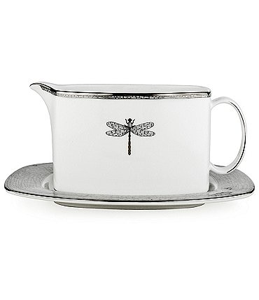 Image of kate spade new york June Lane Dragonfly Platinum Bone China Gravy Boat with Stand