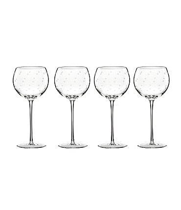 Image of kate spade new york Larabee Road 4-Piece Dotted Crystal Balloon Wine Glass Set