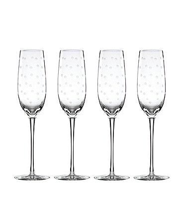 Image of kate spade new york Larabee Road 4-Piece Dotted Crystal Flute Set