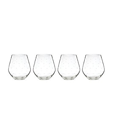 Image of kate spade new york Larabee Road 4-Piece Dotted Crystal Stemless Red Wine Glass Set