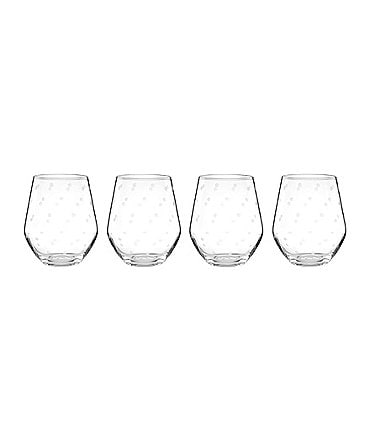 Image of kate spade new york Larabee Road 4-Piece Dotted Crystal Stemless White Wine Glass Set
