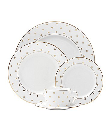Image of kate spade new york Larabee Road Dotted Gold Bone China 5-Piece Place Setting