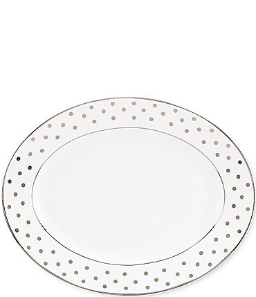 "Image of kate spade new york Larabee Road Dotted Platinum Bone China 13"" Oval Platter"