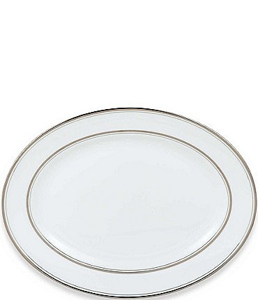 Image of kate spade new york Library Lane Platinum-Striped Oval Platter