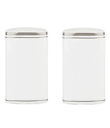 Image of kate spade new york Library Lane Platinum-Striped Salt & Pepper Shaker Set
