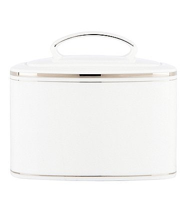 Image of kate spade new york Library Lane Platinum-Striped Sugar Bowl with Lid