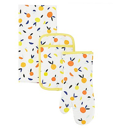 Image of kate spade new york Scattered Citrus 3-Piece Kitchen Towel, Oven Mitt, and Pot Holder Set