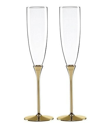 Image of kate spade new york Simply Sparkling Gold-Plated Flute Pair