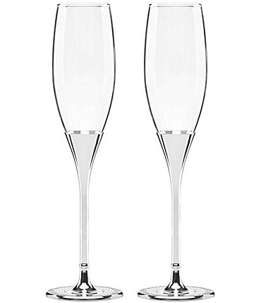 Image of kate spade new york Simply Sparkling Silver-Plated Flute Pair