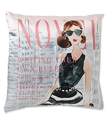 Image of kate spade new york Writing Your Own Rules Magazine Cover Silk & Cotton Square Feather Pillow
