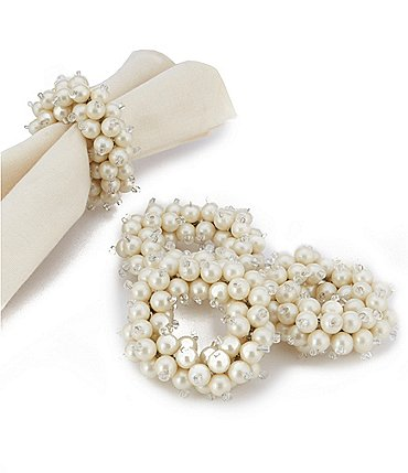 Image of Kemp & Beatley Tiffany Pearl Napkin Rings, Set of 4