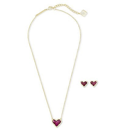 Image of Kendra Scott Ari Heart 14k Gold Plated Necklace & Earrings Gift Set