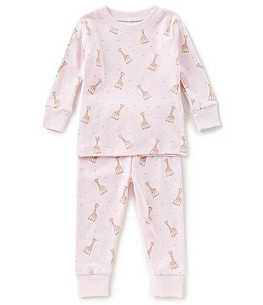 Image of Kissy Kissy Baby Girls 12-24 Months Sophie La Girafe Printed Top & Bottom Pajama Set