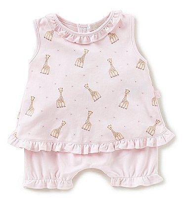 Image of Kissy Kissy Baby Girls Newborn-18 Months Sophie La Girafe Printed Dress & Shorts Set