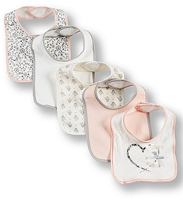 Image of Kyle & Deena Baby Girls Heart/Bow Bibs 5-Pack