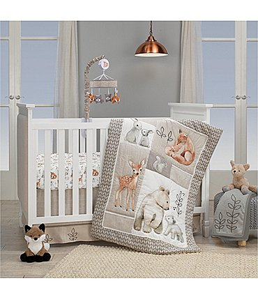 Image of Lambs & Ivy Painted Forest Woodland Animals 4-Piece Nursery Crib Bedding Set