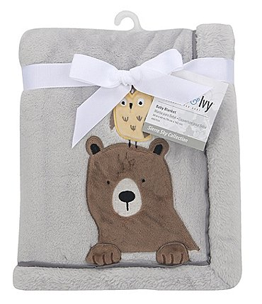 Image of Lambs & Ivy Sierra Sky Bear and Owl Fleece Baby Blanket