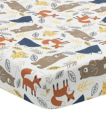 Image of Lambs & Ivy Sierra Sky Woodland Cotton Baby Fitted Crib Sheet