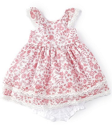 Image of Laura Ashley Baby Girls Newborn-24 Months Floral Lace-Trim Fit-And-Flare Dress