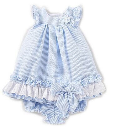 Image of Laura Ashley London Baby Girls Newborn-24 Months Seersucker Flutter-Sleeve Ruffle Dress
