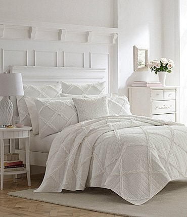 Image of Laura Ashley Maisy Ruffled Grid Quilt Mini Set
