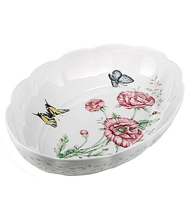 Image of Lenox Butterfly Meadow Floral Scalloped Porcelain Oval Baker