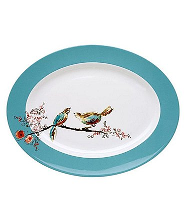 Image of Lenox Chirp Bird & Floral Bone China Oval Platter