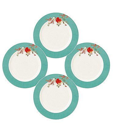 Image of Lenox 4-Piece Chirp Floral Bone China Dessert Plate Set