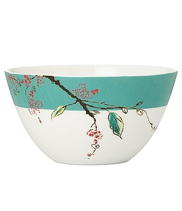 Image of Lenox Chirp Floral Colorblocked Bone China Serving Bowl