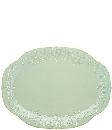 Image of Lenox French Perle Scalloped Stoneware Oval Platter