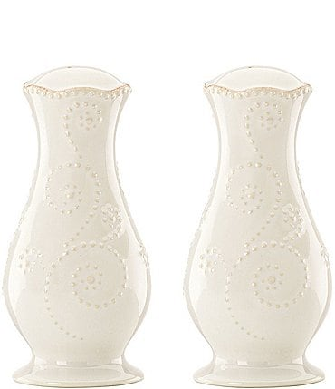 Image of Lenox French Perle Scalloped Stoneware Salt & Pepper Shaker Set