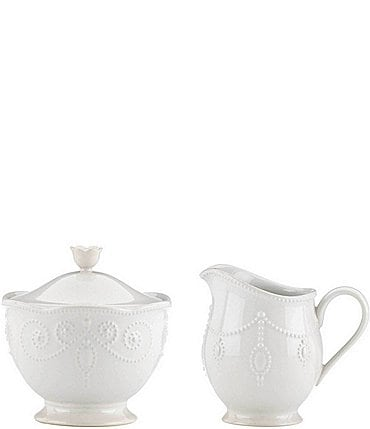 Image of Lenox French Perle Scalloped Stoneware Sugar & Creamer Set