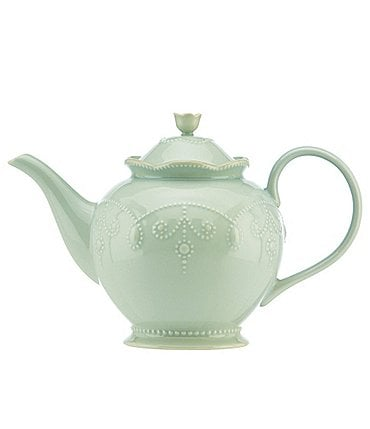 Image of Lenox French Perle Scalloped Stoneware Teapot
