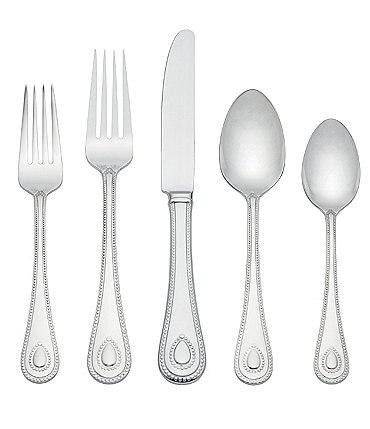 Image of Lenox French Perle Beaded Teardrop 65-Piece Stainless Steel Flatware Set