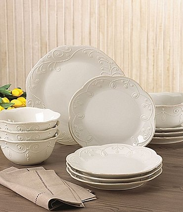 Image of Lenox French Perle Scalloped Stoneware 12-Piece Dinnerware Set