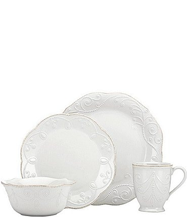 Image of Lenox French Perle Scalloped Stoneware 4-Piece Place Setting