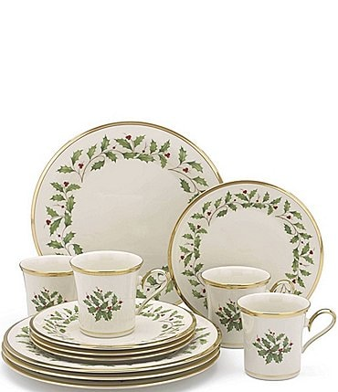 Image of Lenox Holiday 12-Piece Dinnerware Set