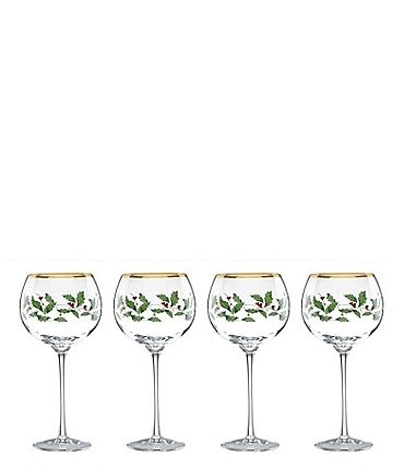 Image of Lenox Holiday 4-Piece Balloon Wine Glass Set