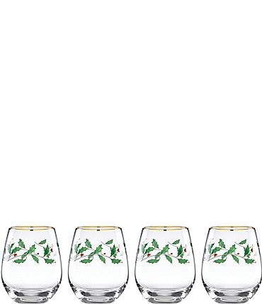 Image of Lenox Holiday Holly 4-Piece Stemless Wine Glass Set