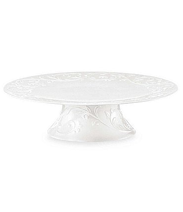 Image of Lenox Opal Innocence Carved Scroll Porcelain Cake Plate