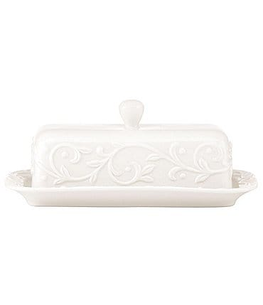 Image of Lenox Opal Innocence Carved Scroll Porcelain Covered Butter Dish